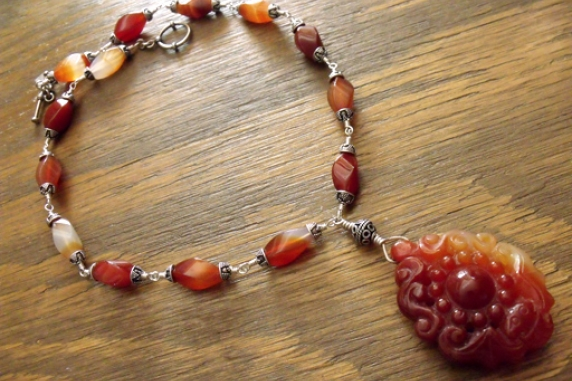 Carved Carnelian Pendant Necklace